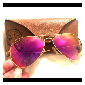 Pink reflective authentic ray bans